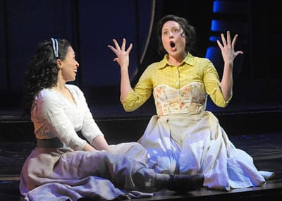 Rebecca Brown as Julie Jordan and Dorea Schmidt as Carrie Pipperidge in Olney Theatre Center's production of CAROUSEL. (Photo: Stan Barouh)