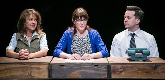 (l-r) Jenna Sokolowski, Katie Nigshe and Daniel Corey in The Typographer's Dream at Hub Theatre (Photo: C. Stanley Photography)