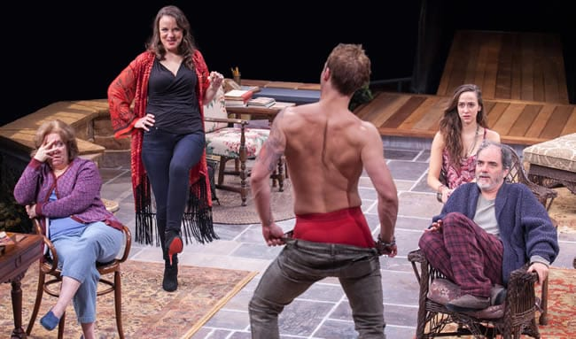 Sherri L. Edelen as Sonia, Grace Gonglewski as Masha, Jefferson Farber as Spike, Rachel Esther Tate as Nina and Eric Hissom as Vanya in Vanya and Sonia and Masha and Spike at Arena Stage (Photo: C. Stanley Photography)
