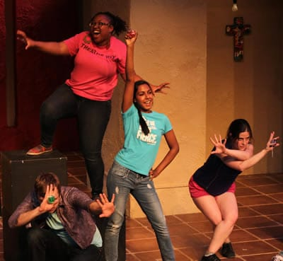 """Diamond of Destiny"" - DC actors (from left) Jack Novak, Brandyn Ashley Poole, Ramya Anbalagan and Vanessa Strickland strike the final pose of Nevaeh Edwards' Diamond of Destiny in the 2014 New Play Festival. (Photo: Jeff Gilliland)"