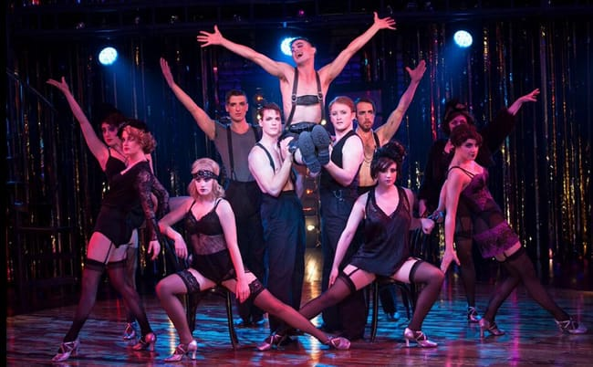 Cast members of Cabaret (Wesley Taylor in center) (Photo: Margot Schulman)