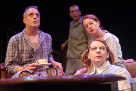 (l-r) Michael  Russotto, Bobby Smith, Kathleen Coons and Susan Lynskey in the 2006 MetroStage production of Girl in the Goldfish Bowl