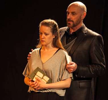Esther Williamson as Ophelia, with Jim Jorgensen as Corambis (Polonius) in Hamlet, the First Quarto. (Photo:  C. Stanley Photography)