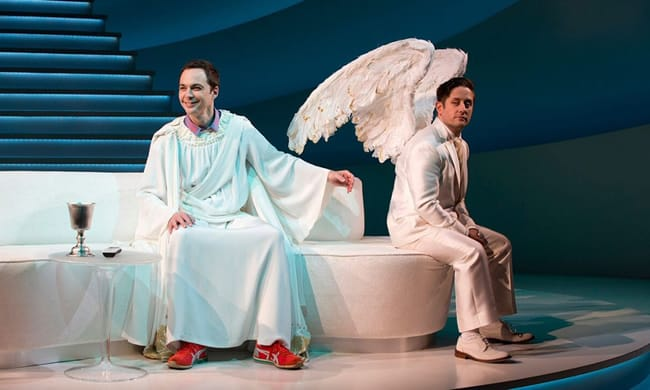 (l-r) Jim Parsons, left, and Christopher Fitzgerald, in An Act of God  (Photo: Jeremy Daniel)