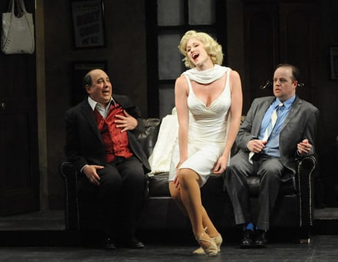 Michael Kostroff as Max Bialystock, Jessica Jaros as Ulla, and Michael Di Liberto as Leo Bloom in Olney Theatre Center's production of The Producers.  (Photo: Stan Barouh)