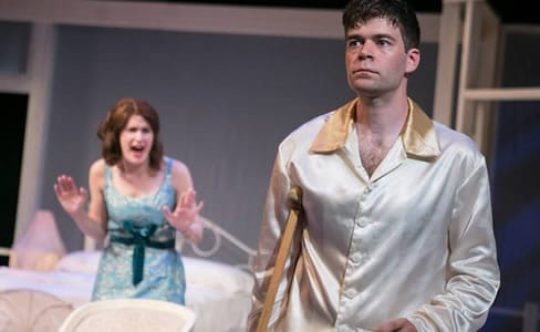 Brianna Letourneau as Maggie and Kevin Hasser as Brick in Cat on a Hot Tin Roof (Photo: C. Stanley Photography)