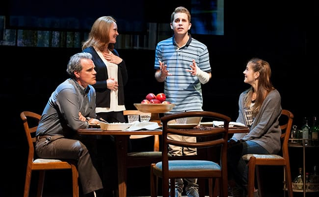 (l-r) Michael Park as Larry, Jennifer Laura Thompson as Cynthia, Ben Platt as Evan and Laura Dreyfuss as Zoe in the world-premiere musical Dear Evan Hansen at Arena Stage, July, 2015 (Photo: Margot Schulman)