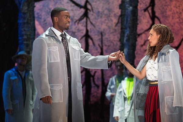 Soloman Howard as Sarastro and Jacqueline Echols as Pamina in The Glimmerglass Festival's 2015 production of Mozart's The Magic Flute. (Photo: Karli Cadel)