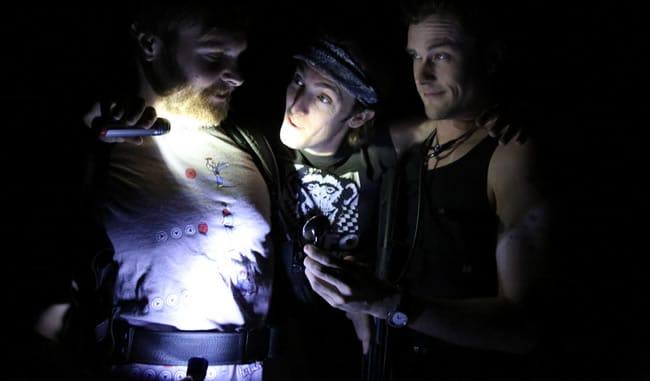 (l-r) Tom Carman, Vince Eisenson, Matthew Alan Ward in Bones in Whispers at Longacre Lea (Photo: Kathleen Akerley)