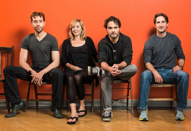 Members of the cast of Animal at Studio Theatre: Michael Kevin Darnall, Kate Eastwood Norris, Cody Nickell, Joel David Santner (Photo: Teddy Wolff)