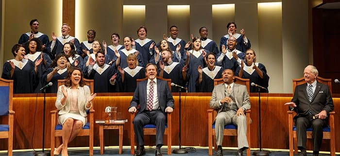 (l-r) Linda Powell, Andrew Garman, Larry Powell, Philip Kerr, and ensemble choir in THE CHRISTIANS at Playwrights Horizon. (Photo: Joan Marcus)