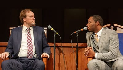 (l-r) Andrew Garman and Larry Powell in THE CHRISTIANS. (Photo: Joan Marcus)