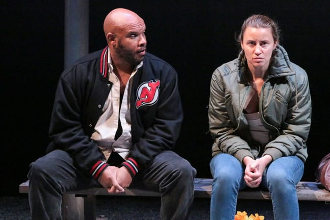 Jefferson A. Russell (Tommy) and Alexandra Henrikson (Darja) in Round House Theatre's production of IRONBOUND (Photo: Cheyenne Michaels)