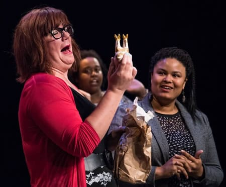 (r-l) Lura Barber, Eva Lewis and Nikki Stowers  in The October Issue (Photo courtesy of Washington Improv Theater)