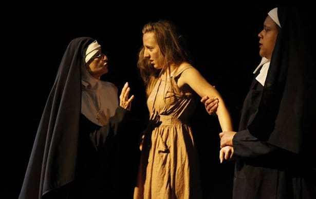 Sister Anastasia (Elizabeth Bruce), Margaret (Allison Frisch), and Sister Helen (Taunya Ferguson). Photo courtesy of The Thelma Theatre.