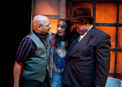(l-r) Frank Britton, Sara Barker and Scott McCormick in Truth & Beauty Bombs from Rorschach Theatre