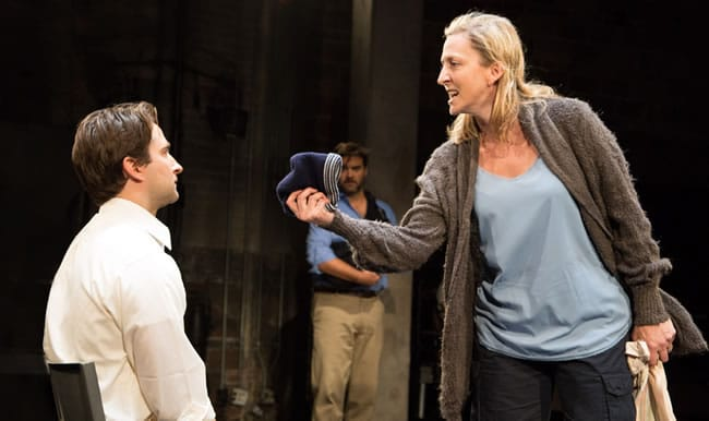 (foreground) Joel David Santner, Kate Eastwood Norris, and (back) Cody Nickell in Animal at Studio Theatre (Photo: Igor Dmitry)