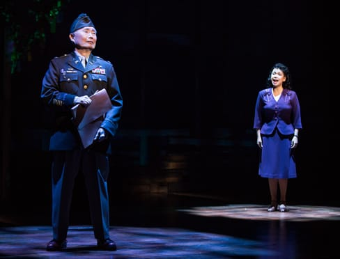 "George Takei and Lea Salonga in a scene from ""Allegiance"" (Photo: Matthew Murphy)"