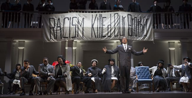 Soloman Howard as Dr. Martin Luther King, Jr. and the company of Appomattox at Washington National Opera (Photo:  Scott Suchman)