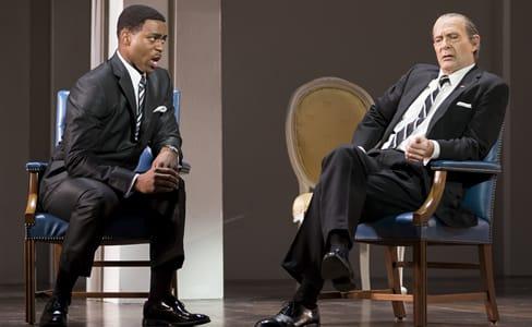 Soloman Howard as Dr. Martin Luther King, Jr. and Tom Fox as President Lyndon B. Johnson in Appomattox at Washington National Opera (Photo:  Scott Suchman)