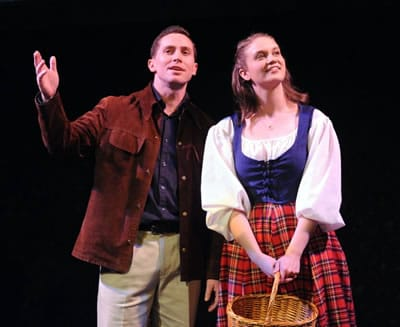 Mike McLean as Tommy Albright, Katherine Riddle as Fiona MacLaren in Brigadoon at Compass Rose Theater (Photo: Stan Barouh)