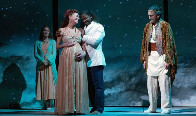 Brooke Parks as Thaisa and Wayne T. Carr sd Pericles with Emily Serdahl as Lychordia and Scott Ripley as Simonides in Pericles by Oregon Shakespeare Festival at Folger Theatre (Photo: Teresa Wood)