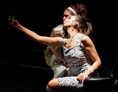 Ariana Almajan as Amelia and (back) Moriah Whiteman as Chantal in Smartphones from Ambassador Theater (Photo: Valentin Radev)