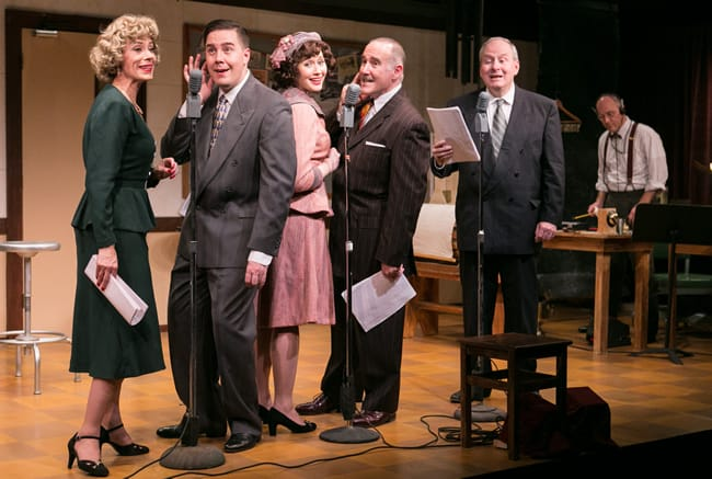 (l-r) Julie-Ann Elliott, Joe Brack, Jenny Donovan, Lawrence Redmond, Vincent Clark, and Steven Carpenter in It's a Wonderful Life: A Live Radio Play from Washington Stage Guild (Photo: C. Stanley Photography)