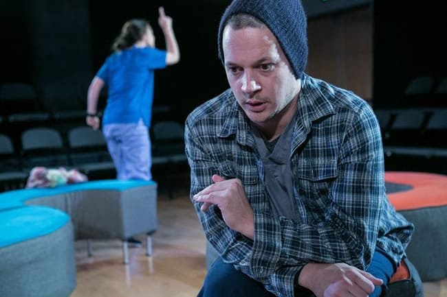 Daniel Corey (foreground) and Laura C. Harris in World Builders from Forum Theatre (Photo: C. Stanley Photography)