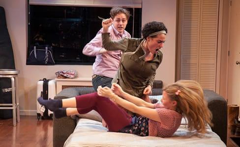 (l-r) Noah Averbach-Katz, Laura Lapidus, and Maggie Wilder in Bad Jews at Studio Theatre. (Photo: Allie Dearie)