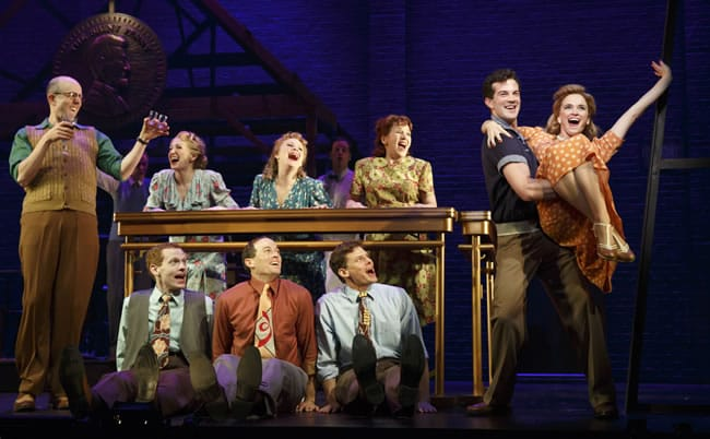 Jeff Blumenkrantz (left); A.J. Shively, Emily Padgett (right); and the cast of Bright Star at the Kennedy Center. (Photo: Joan Marcus)