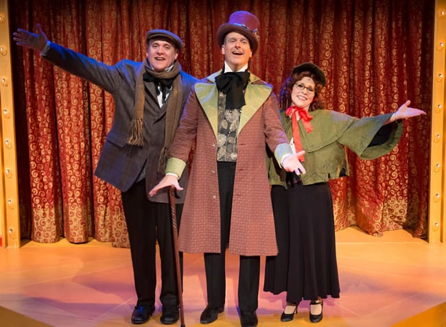 A Broadway Michael Sharp, Peter Boyer and Tracey Stephens in A Broadway Christmas Carol at MetroStage (Photo: Chris Banks)