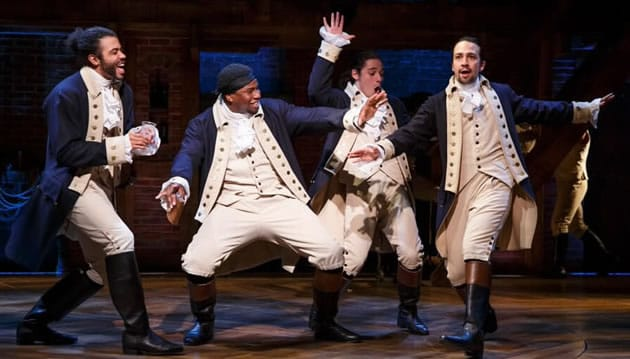 Lin-Manuel Miranda and the cast of the Broadway production of <em>Hamilton</em> (Photo: Joan Marcus)
