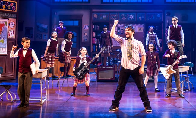 Alex Brightman and the kid band from School of Rock - The Musical (Photo: Matthew Murphy)