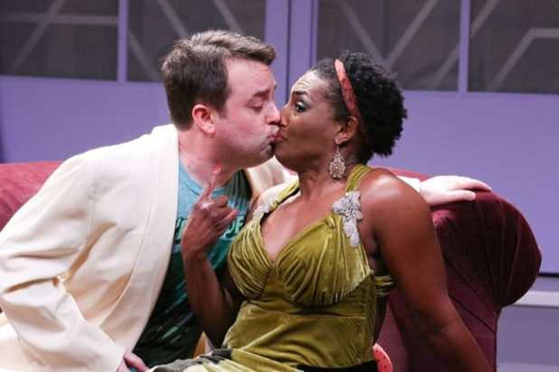 Michael Glenn and Dawn Ursula (She) in Stage Kiss at Round House Theatre (Photo: Cheyenne Michaels)