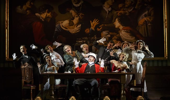 The cast with John Rapson as Lord Adalbert D'Ysquith (red) in A Gentleman's Guide to Love & Murder. (Photo: Joan Marcus)