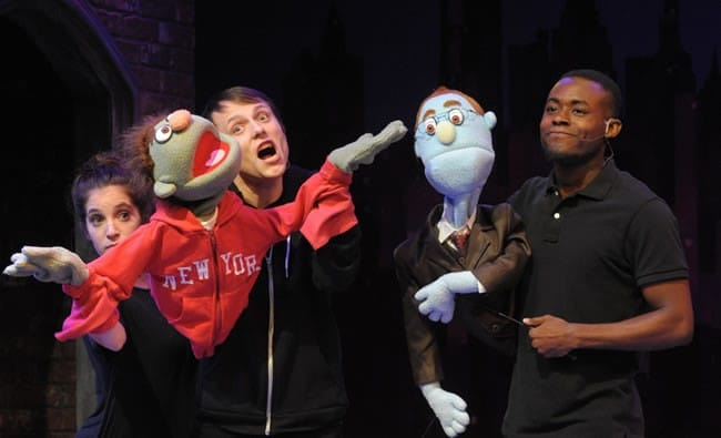 (l-r) Jenna Berk, Alex Alferov as Nicky and Vaughn Ryan Midder as Rod in Avenue Q from Constellation Theatre (Photo: Stan Barouh)