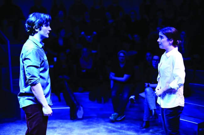 Tom Patterson and Lily Balatincz in Constellations at Studio Theatre. (Photo: Igor Dmitry)