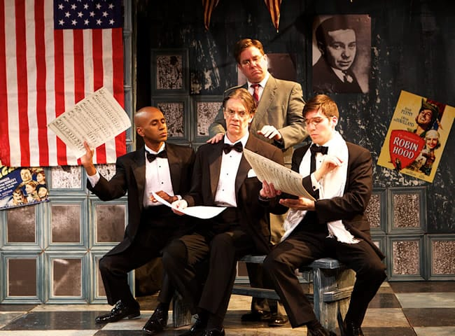 (front) Jase Parker as Erich Wolfgang Korngold, Kenneth Derby as Frederick Hollander and Brian J. Shaw as Franz Waxman. (Standing) Andrew Adelsberger as Hanns Eisler in Kabarett and Cabaret at In Series (Photo: Angelisa Gillyard)
