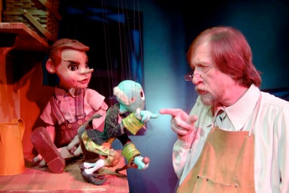 (l-r) Pinocchio, Cricket and Allan Stevens as Gepetto (Photo: Christopher Piper)