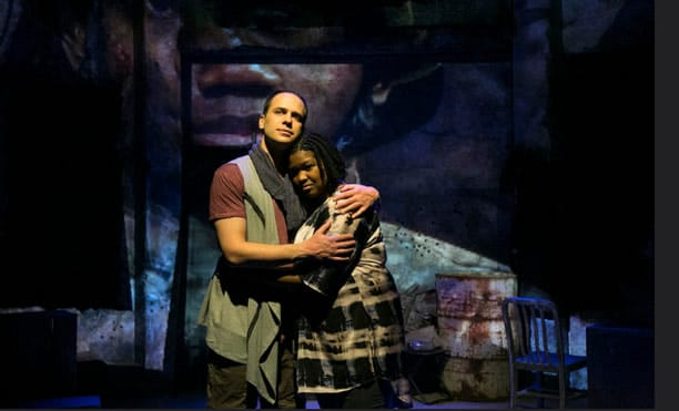 """Kelly Renee Armstrong, Jonathan Feuer in :Red Again"""" part of Antigone Project at Rep Stage (Photo: Katie Simmons-Barth)"""