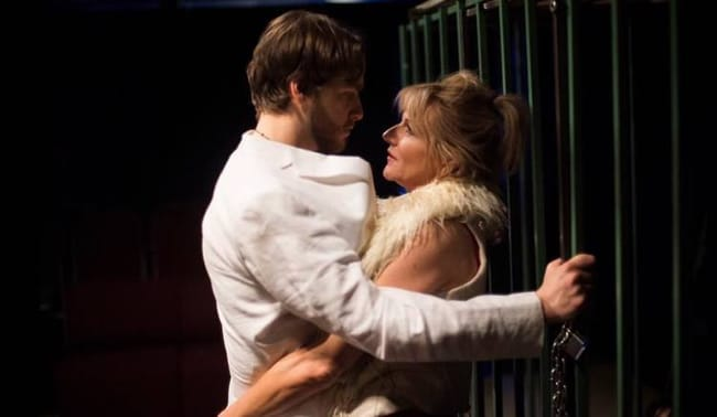 Grant Cloyd and Karin Rosnizeck in Fur at Venus Theatre (Photo: Lisa Helfert Photography)