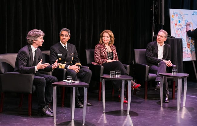 Damian Woetzel, U.S. Surgeon General Vivek H. Murthy, Renée Fleming, and Brian Greene at the 2016 Kennedy Center Arts Summit_April 25, 2016 (Photo: Yassine El Mansouri_