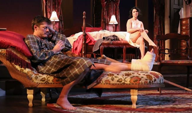 Gregory Wooddell AS Brick and Alyssa Wilmoth Keegan AS Maggie in Cat on a Hot Tin Roof at Round House Theatre (Photo:  Cheyenne Michaels)