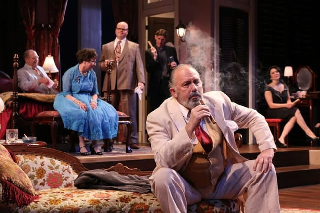 Stephen Patrick Martin as Dr. Baugh, Sarah Marshall as Big Momma, Todd Scofield as Gooper, Tom Truss as Reverend Tooker, Rick Foucheux as Big Daddy, and Alyssa Wilmoth Keegan as Maggie in  Cat on a Hot Tin Roof at Round House Theatre (Photo:  Cheyenne Michaels)