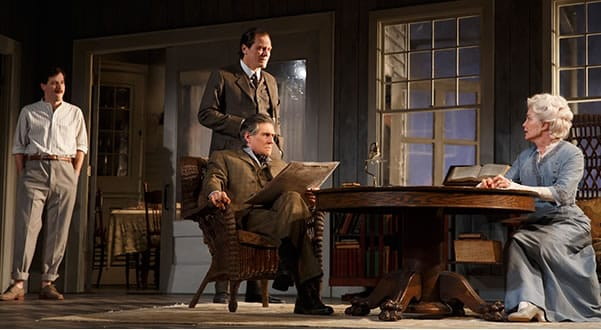 (l-r) John Gallagher, Jr., Michael Shannon, Gabriel Byrne and Jessica Lange in Long Day's Journey Into Night on Broadway (Photo:  Joan Marcus)