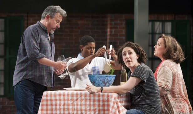 (l-r) Jeff Still (Howard), Xavier Scott Evans (Jonny), Emily Townley (Lucinda) and Shayna Blass (Charlotte) in The Mystery of Love and Sex at Signature Theatre (Photo: Margot Schulman)