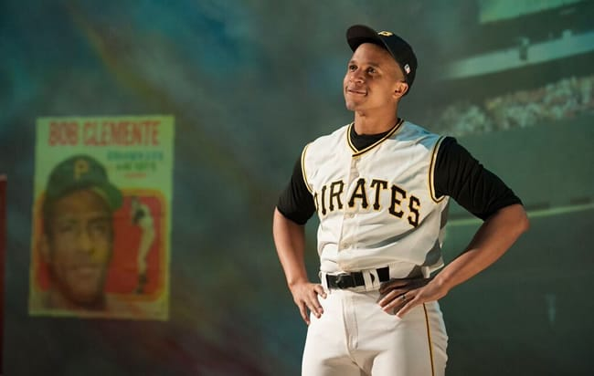 Jaysen Wright as Roberto Clemente in Looking for Roberto Clemente at Imagination Stage (Photo: Margot Schulman)