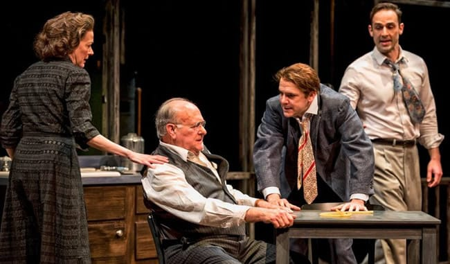 The Loman family: Deborah Hazlett as Linda, ), Wil Love as Willy, Chris Genebach as Biff and Danny Gavigan as Happy in Death of a Salesman at Everyman Theatre (Photo: ClintonBPhotography)