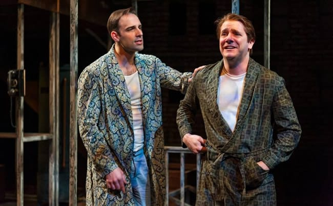 Danny Gavigan as Happy and Chris Genebach as Biff) in Death of a Salesman at Everyman Theatre (Photo: ClintonBPhotography)